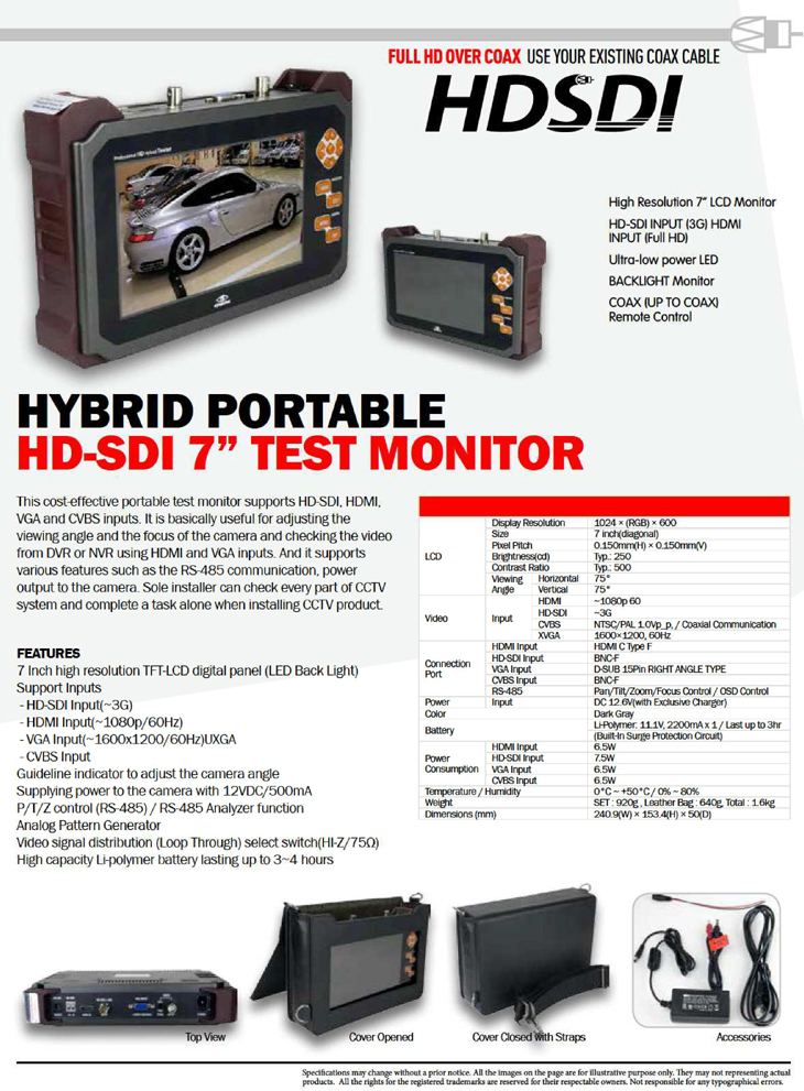 HDSDI HD-SDI Video Tester Monitor