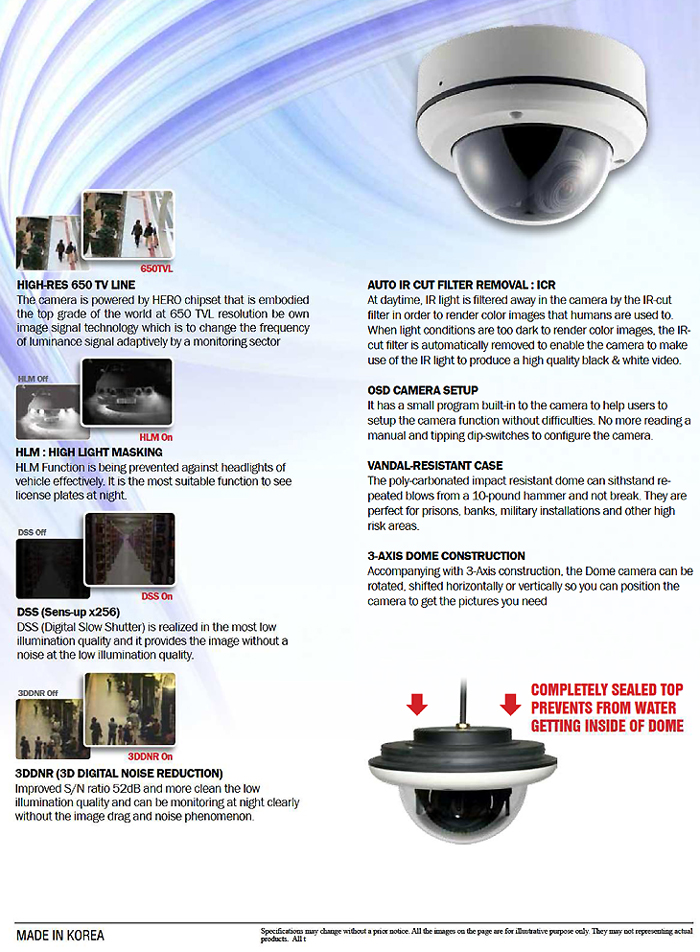Starlight Extreme Low Light Outdoor Vandalproof Dome Camera