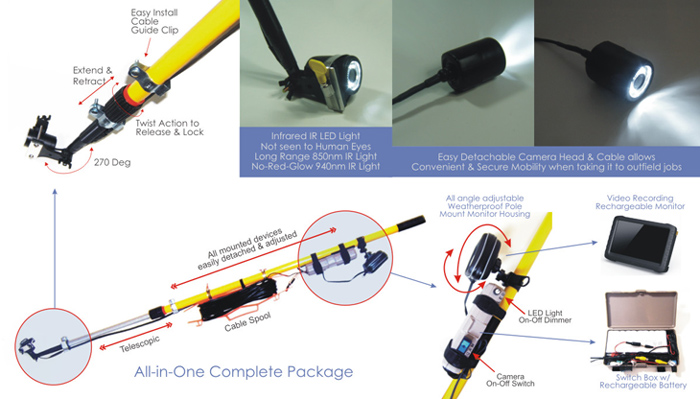 Invisible IR Light Telecopic Pole Video Inspection System