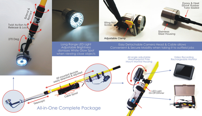 Long Range White Light Telecopic Pole Video Inspection System