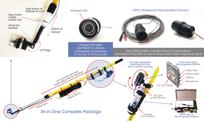White Light Portable Extendable Pole Video Inspection System
